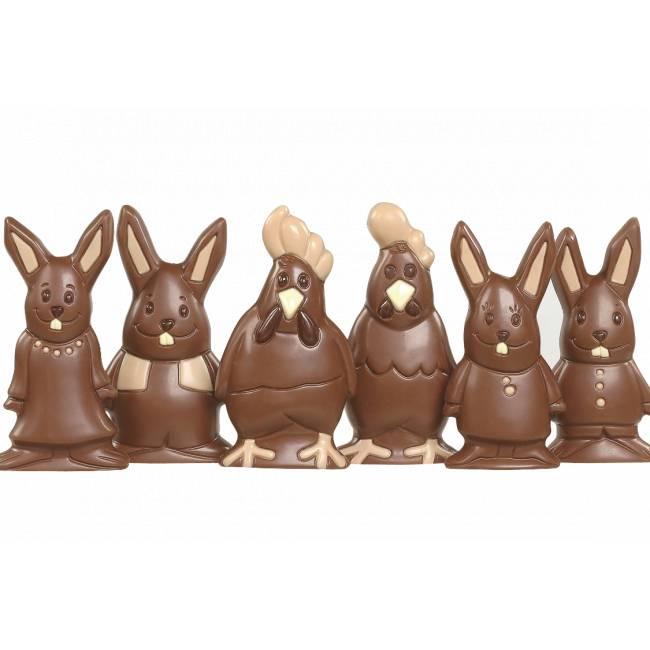 Moulage surprise, poule ou lapin en chocolat Lait