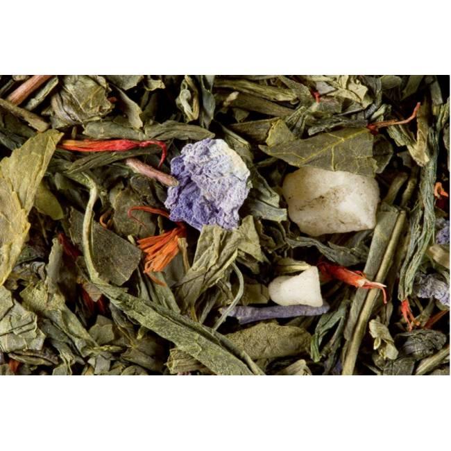 Sachet de thé vert macaron cassis violette Dammann