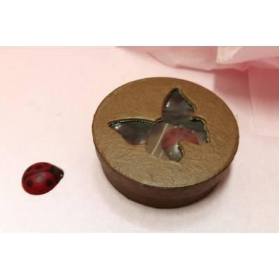 Mini boîte ronde papillon